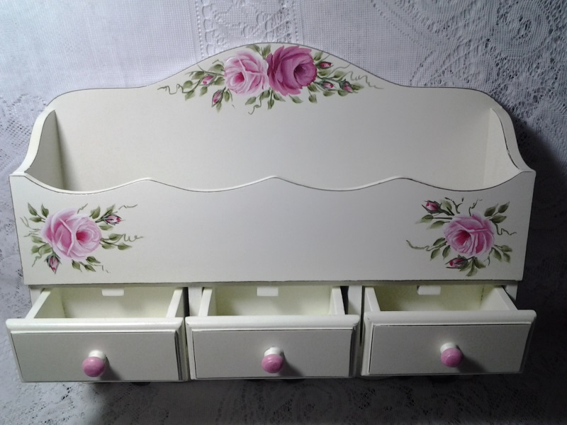 Decorative Wall Shelf With Hp Roses By Paula S Cottage Charm