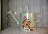 Birdhouse with Morning Glories on Lt Green (b/g) Watering Can