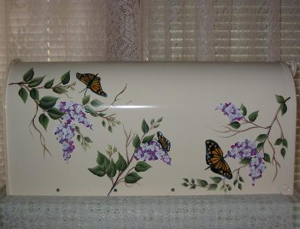 Butterflies and Wisteria Mailbox on White (b/g)