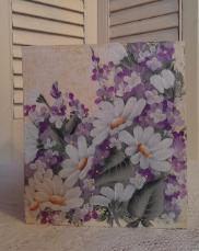 Hand Painted Daisies and Lilacs Tissue Box Cover