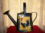 French Country Rooster Watering Can on Black (b/g)