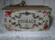 French Storage Tin with Hand Painted Roses