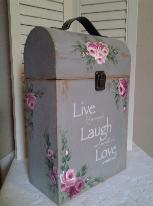 Hand Painted Curved Top Trunk with Roses