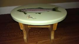 Hand Painted Fish Stool - view 2