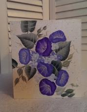 Hand Painted Morning Glories Tissue Box Cover