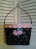 Hand Painted Polka Dots and Roses Wall Pocket