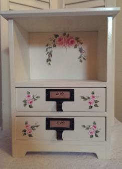 Hand Painted Roses Cabinet