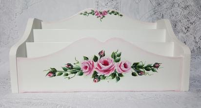Hand Painted Roses Desk Caddy