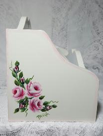 Hand Painted Roses Desk Organizer - Left side