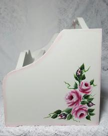 Hand Painted Roses Desk Organizer - Right Side