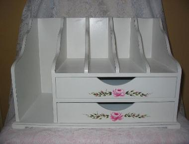 Large Shabby Chic Desk Organizer with Hand Painted Roses