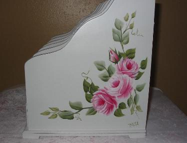 Large Shabby Chic Desk Organizer with HP Roses - right side