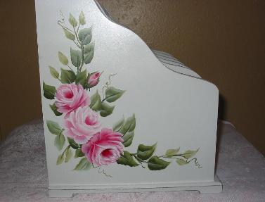 Large Shabby Chic Desk Organizer with HP Roses - left side