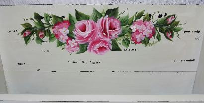 Hand Painted Pink Roses Leter Holder - up close