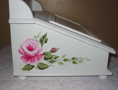 Shabby Chic Storage Box with HP Roses - left side