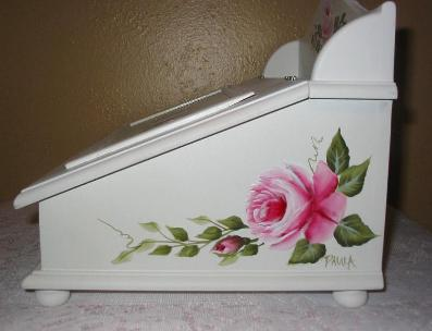 Shabby Chic Storage Box with HP Roses - right side