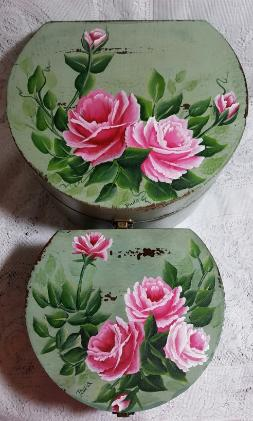 Hand Painted Roses Storage Box Duo Set