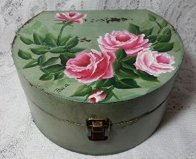 Hand Painted Roses Storage Box Duo Set - small box