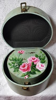 Hand Painted Roses Storage Box Duo Set - Nesting view