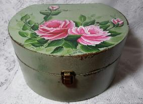 Hand Painted Roses Storage Box Duo Set - large box