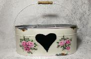 Hand Painted Roses Tin Caddy