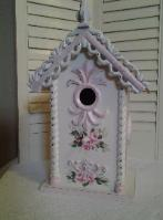 Hand Painted Shabby Chic Birdhouse with Roses