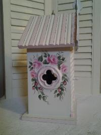 Hand Painted Shabby Chic Birdhouse w/Roses - Left Side
