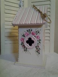 Hand Painted Shabby Chic Birdhouse w/Roses -Right Side