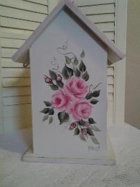 Hand Painted Shabby Chic Birdhouse w/Roses - Back