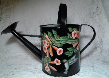 HP Trumpet Vines and Hummingbird Watering Can - Black b/g