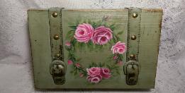 Hand Painted Decorative Storage Box with Roses