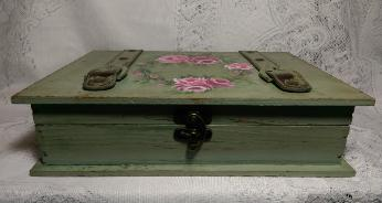 Hand Painted Decorative Storage Box with Roses -Side