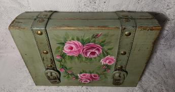 Hand Painted Decorative Storage Box with Roses - Top