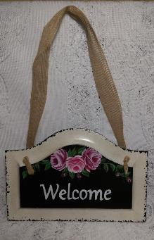 Hand Painted Welcome Sign with Pink Roses