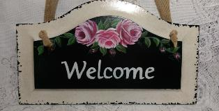 Hand Painted Welcome Sign with Pink Roses - Up Close