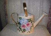 Roses & Hydrangeas on Cream (b/g) Watering Can