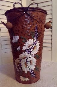 Hand Painted Rustic Bucket with Daisies