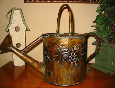 Rustic Watering Can with Grape Motif