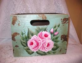Shabby Box with HP Roses - Large/back