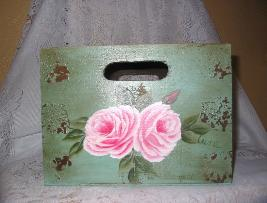 Shabby Box with HP Roses - Large/Front