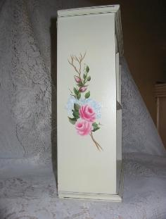 Shabby Chic Cabinet with HP Roses - side 1