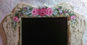 Shabby Chic HP Roses Decorative Chalkboard - top view
