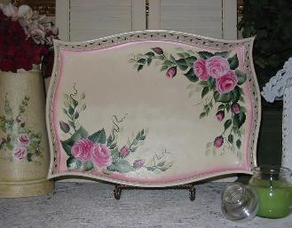 Shabby Chic Roses Decorative Tray