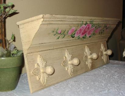 Shabby Chic Roses Wall Shelf - Side View