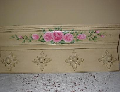 Shabby Chic Roses Wall Shelf - Up Close