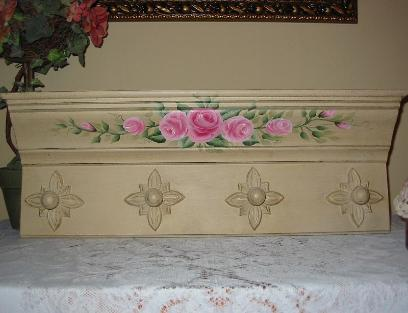 Shabby Chic Roses Wall Shelf - Front view