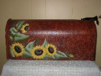 Sunflowers on Rustic b/g Mailbox