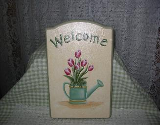 Tulips in Watering Can on Cream (b/g) Welcome Sign
