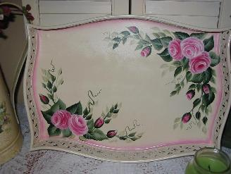 Shabby Chic Roses Tray - View 1