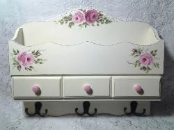 Decorative Wall Shelf with Hand Painted Roses